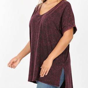 Plus Size Burgundy Mineral Wash Zenana Top
